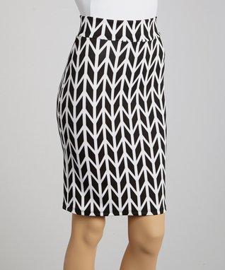 Avital Black & White Arrow Pencil Skirt