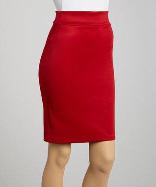 Avital Red Pencil Skirt