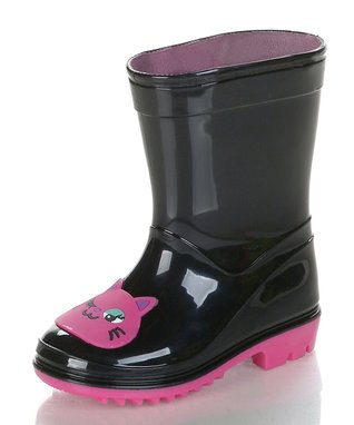 Jelly Beans Black & Pink Kitty Rain Boot