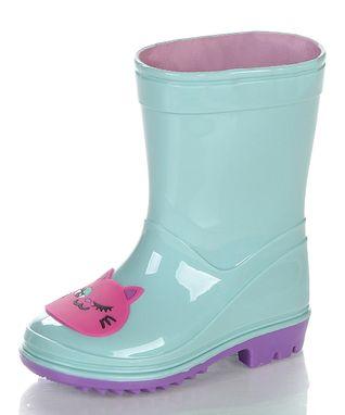 Jelly Beans Sea Green & Pink Kitty Rain Boot