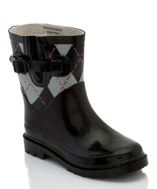 Angels New York Black Shearling-Trim Rain Boot