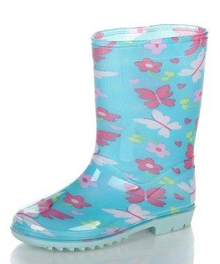Jelly Beans Blue & White Flower Rain Boot