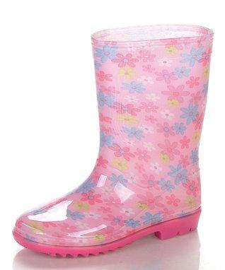 Jelly Beans Pink & White Flower Rain Boot