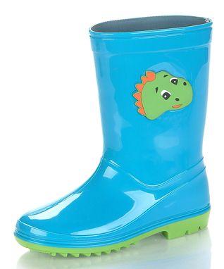 Jelly Beans Aqua Blue Dino Rain Boot