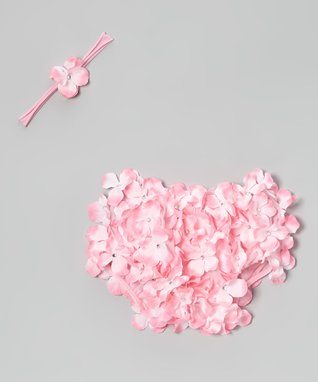 Light Pink Petal Diaper Cover & Headband - Infant