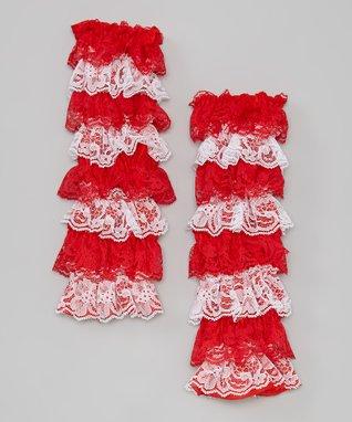 Burgundy Lace Ruffle Leg Warmers