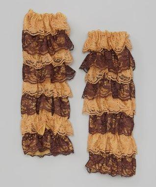 Tan & White Lace Ruffle Leg Warmers