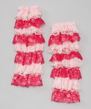 Tan & Chocolate Lace Ruffle Leg Warmers