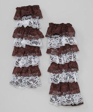Burgundy & White Lace Ruffle Leg Warmers