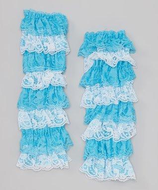 Chocolate & White Lace Ruffle Leg Warmers