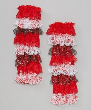 Red & White Polka Dot Ruffle Leg Warmers
