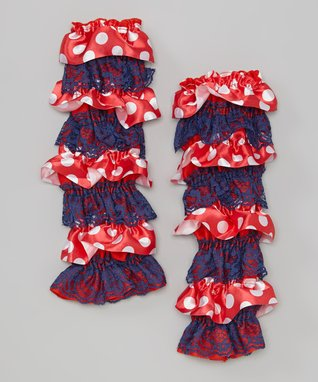 Red & White Sparkle Lace Ruffle Leg Warmers