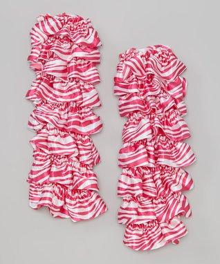 Red & Black Polka Dot Satin Ruffle Leg Warmers