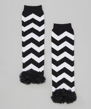 Hot Pink & Black Zebra Ruffle-Trim Leg Warmers