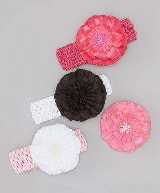 Pink Flower Headband Set
