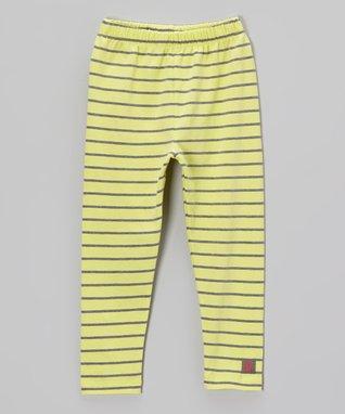 Citrus & Charcoal Stripe Leggings - Toddler & Girls
