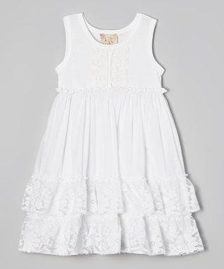 White Rosette Tiered Ruffle Dress - Girls