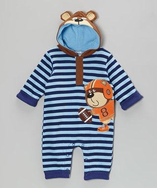 Baby Essentials Blue Stripe Bear Hooded Playsuit - Infant
