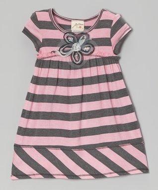 Charcoal & Pink Stripe Daisy Babydoll Dress - Toddler & Girls