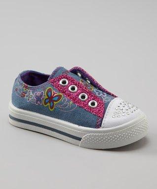 Kali Blue Glitter Slip-On Sneaker