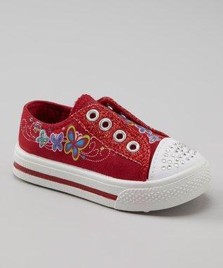 Kali Red Glitter Slip-On Sneaker