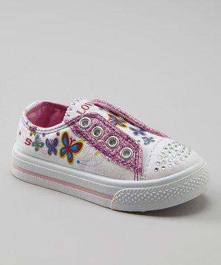 Kali White Glitter Slip-On Sneaker