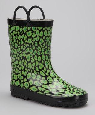LILLY of NEW YORK Green & Black Leopard Rain Boot