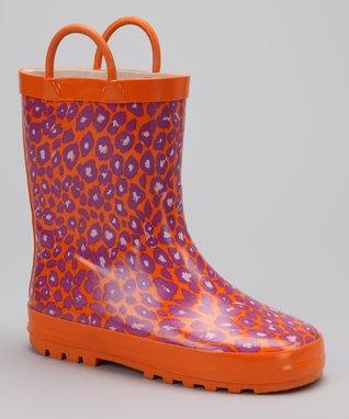 LILLY of NEW YORK Orange & Purple Leopard Rain Boot