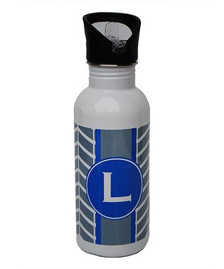 Gray & Navy Mosaic Initial Water Bottle