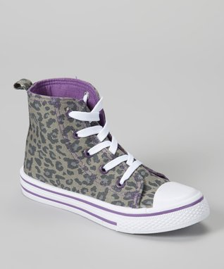 Collection'O Black & Purple Leopard Hi-Top Sneaker