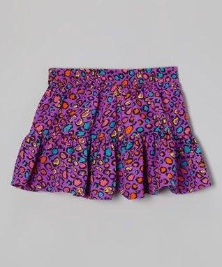 Apollo Purple Leopard Skooter Skirt - Girls