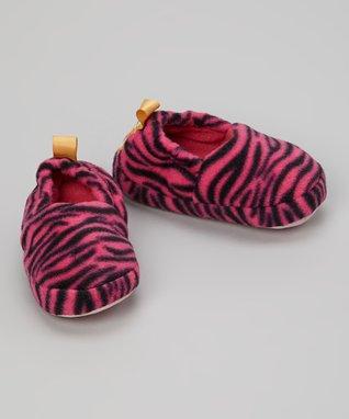Skidders Pink Zebra Gripper Slipper