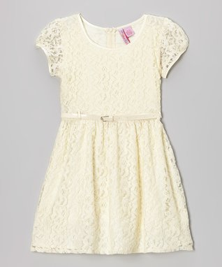 Apollo Ivory Lace Belted Cap-Sleeve Dress - Girls