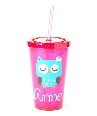 Pink & Turquoise Owl Personalized Tumbler