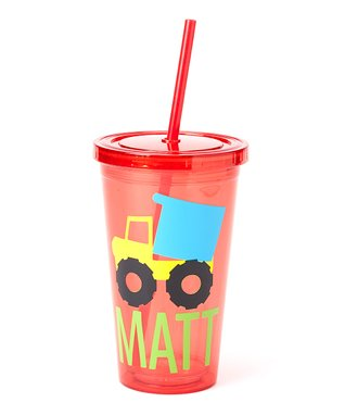 Red Dump Truck Personalized Tumbler