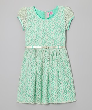 Apollo Mint Lace Belted Cap-Sleeve Dress - Girls