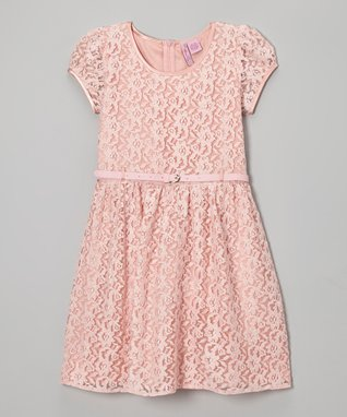 Apollo Pink Lace Belted Cap-Sleeve Dress - Girls