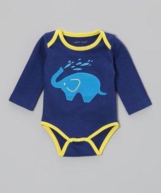 babysoy Blue Contrast-Stitch Soy Cargo Pants - Infant