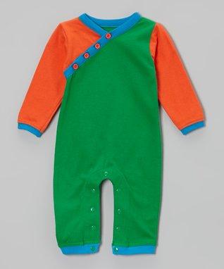 Tumblewalla Navy & Blue Little Elephant Organic Playsuit - Infant