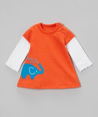 My O Baby Blue Bear Appliqué Organic Bodysuit - Infant