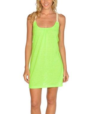 Neon Yellow Strapless Hi-Low Dress