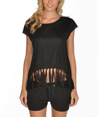 Black Fringe Cap-Sleeve Top