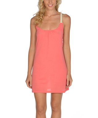 Coral & Taupe Braided Racerback Dress