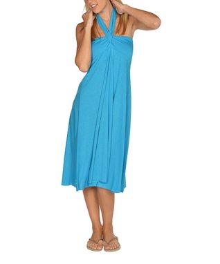 Blue Sunburst Crocheted Cutout Dress