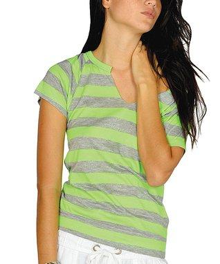 Neon Green Stripe Shirred Sidetail Dress - Women