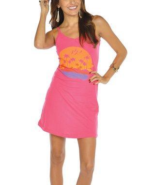 Fuchsia & Mint Zigzag Halter Dress