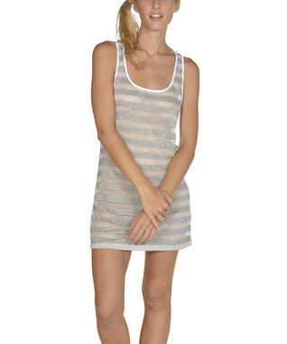 Neon Green Stripe Scoop Neck Cover-Up - Women