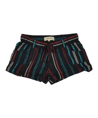 Black & Turquoise Stripe Drawstring Shorts