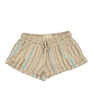 Natural & Brown Stripe Drawstring Shorts