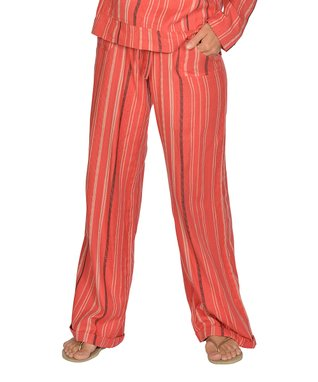 Natural & Brown Stripe Lace-Up Hoodie